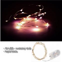 LED svetelný drôt 30 LED teplá biela
