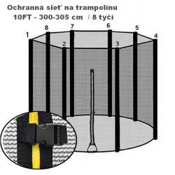Ochranná sieť k trampolíne 300 cm 8 - tyčí