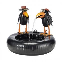 Kovová fontána 2 vrany