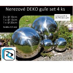 Nerezové dekoračné guľe - set 4 ks