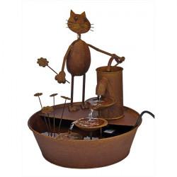 Záhradná fontána - Mačka s kvetinou