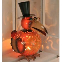 Kovová  lampa na čajové sviečky - vrana