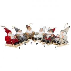 Dekorácia Mikuláš - Santa na saniach 18 cm