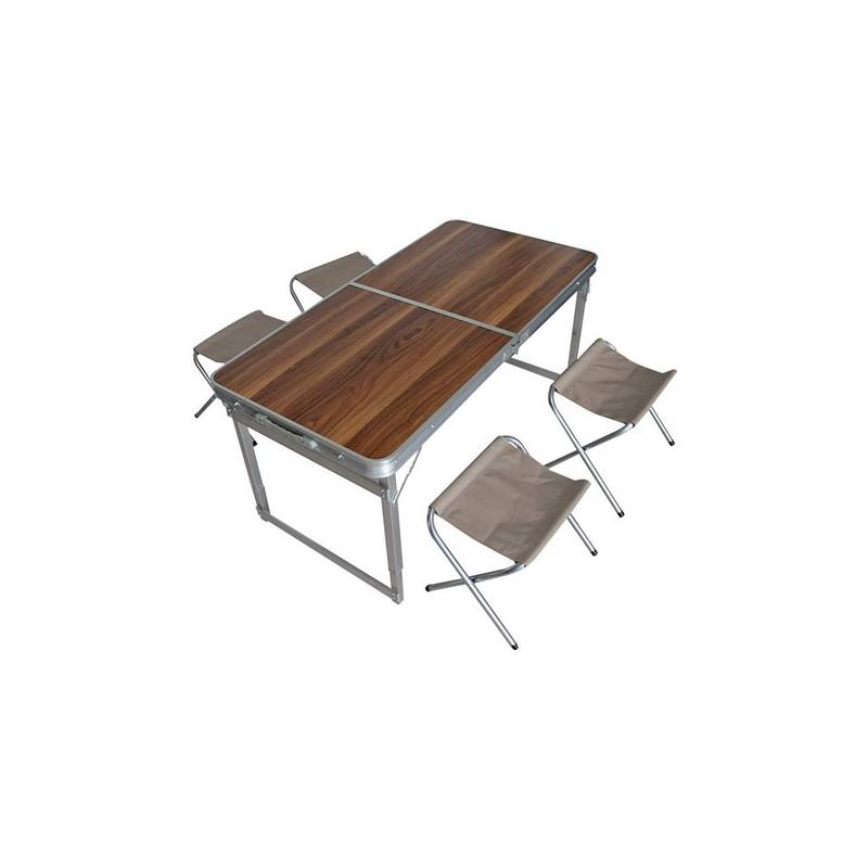 b77ee67656842 Skladací kempingový set stôl + 4 stoličky - Trampoliny123.sk